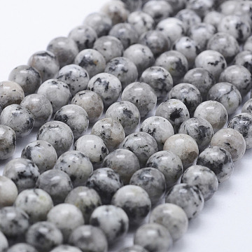 Nature Labradorite Beads Strands, Dyed, Round, Gray, 8~8.5mm, Hole: 1mm, about 47~49pcs/strand, 14.5 inches~14.9 inches(37~38cm)(X-G-E443-A17)