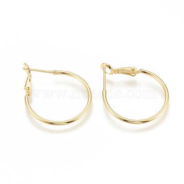 Brass Hoop Earrings, Nickel Free, Real 18K Gold Plated, 30x24.5x1.5mm; Pin: 0.7mm(X-KK-S341-84)