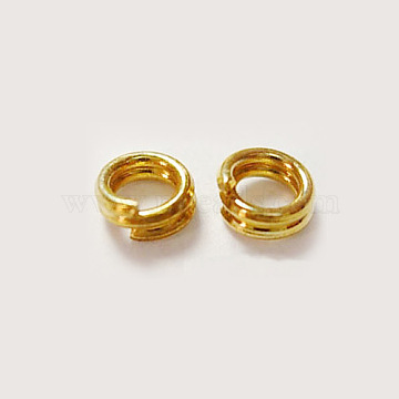 Golden Iron Split Rings, Cadmium Free & Nickel Free & Lead Free, 7mm in diameter, 1.4mm thick, about 6.3mm inner diameter, about 400pcs/50g(X-NFDJRG7MM)
