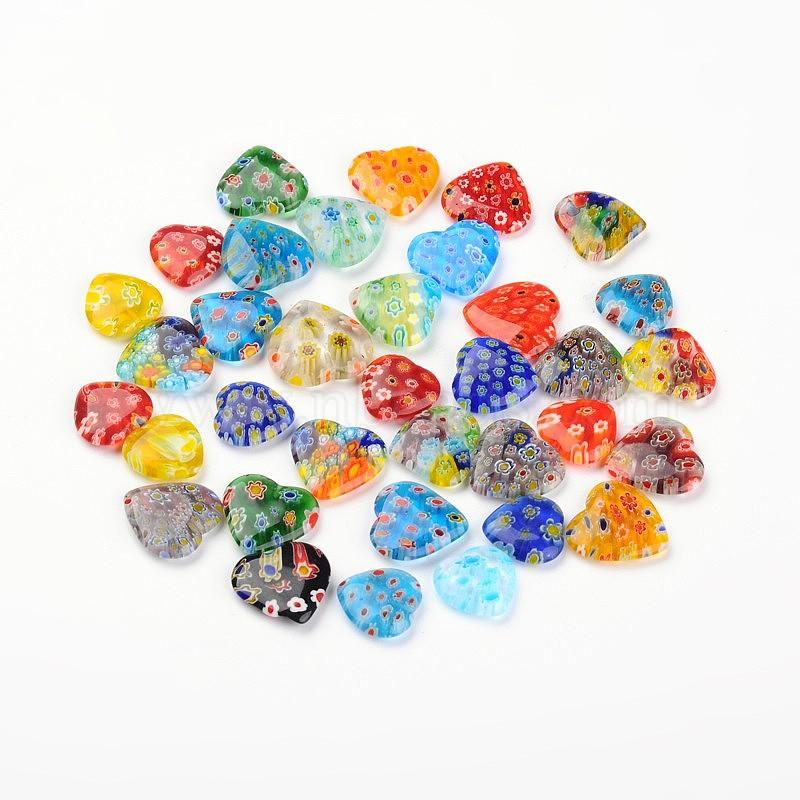 15 or 30 HEART FLOWER MILLEFIORI GLASS BEADS 8mm