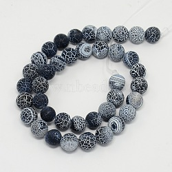 Gemstone Beads Strands, Natural Weathered Agate/Crackle Agate, Round, Grade A, Dyed, Black, 12mm; about 33pcs/strand, 16inches