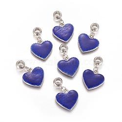 пластмассовые подвески ccb, с эмалью, тема дня святого валентина, сердце с слово любовь, синий, 38 mm, отверстия: 6 mm(CCB-K008-06P)