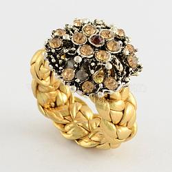 Anneaux de fleurs personnalisés, anneaux de strass en alliage, avec imitation cordon en cuir, or, 16~17mm(RJEW-PJR007-B-1)