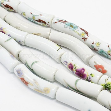 Handmade Flower Printed Porcelain Ceramic Curved Tube Beads, Curved Tube Noodle Beads Strands, Mixed Color, 32~40x9~10mm, Hole: 4mm; about 10pcs/strand, 14.76 inches(PORC-L014-15)