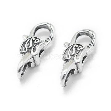 Thai Sterling Silver Lobster Claw Clasps, Antique Silver, 23x9.5x7mm, Hole: 4mm and 5mm(STER-L055-056AS)