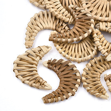 Handmade Reed Cane/Rattan Woven Beads, For Making Straw Earrings and Necklaces, No Hole/Undrilled, Moon, BurlyWood, 43~57x27~37x4~5mm(WOVE-T005-23A)