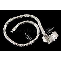 laiton bracelets de style européen avec fermoir en laiton, sans signe, couleur platine, environ 16 cm de long, 3 mm d'épaisseur, 2 trou mm(X-PPJ008Y)