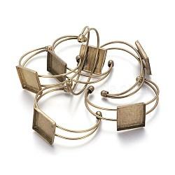 латунь манжеты браслет решений, пустое основание браслета, старинные браслет база, свинца и никеля бесплатно, античная бронза, 68 мм; Квадратный лоток: 25 мм(BJEW-S230076-AB-FF)