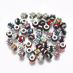 Perles de strass en 304 acier inoxydable, colonne, couleur mixte, couleur inoxydable, 5x4mm, Trou: 1.8mm(STAS-T041-03)