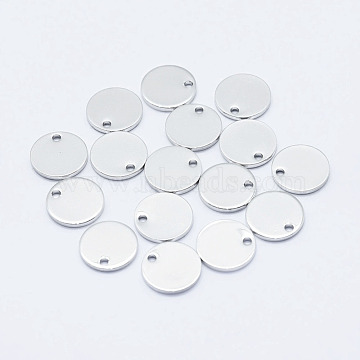 Brass Charms, Long-Lasting Plated, Real Platinum Plated, Nickel Free, Flat Round, 10x1mm, Hole: 1mm(X-KK-G331-93P-NF)