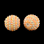 20mm LightSalmon Round Resin+Rhinestone Beads(RESI-S313-18x20-02)