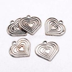 Supports de pendentif coeur en alliage de métal pour l'émail, Sans cadmium & sans nickel & sans plomb, argent antique, 18x17.5x1mm, Trou: 2mm(X-PALLOY-K906-AS)