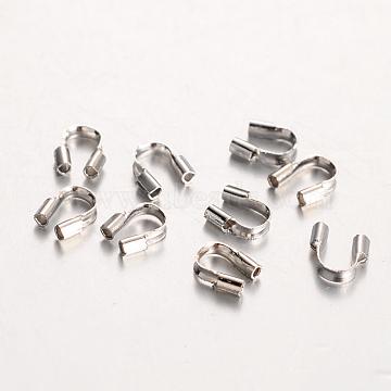 Eco-Friendly Rack Plating Brass Wire Guardians, Lead Free & Cadmium Free & Nickel Free, Platinum, 5x4x1mm, Hole: 0.5mm(X-KK-I606-30P-NR)