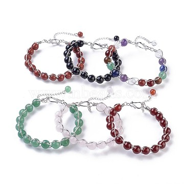 Natural Mixed Stone Beaded Bracelets, with Brass Findings, 7-1/4inches(18.5cm); 10~11mm(BJEW-F386-01)
