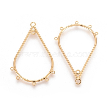 Brass Chandelier Components Links, teardrop, Nickel Free, Real 18K Gold Plated, 40.5x26.5x1.5mm, Hole: 1~1.5mm(X-KK-T038-164G)
