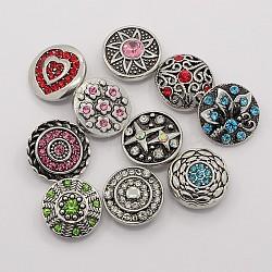 Boutons de strass en alliage de zinc en émail, boutons ronds bijoux snap plats, Sans cadmium & sans nickel & sans plomb, couleur mixte, 19~21x7~9 mm; bouton: 5~5.5 mm(SNAP-M003-M)