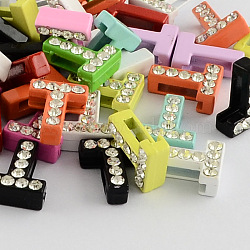 Breloques de lettre avec strass de garde A en alliage de zinc de couleur mélangée, letter.t, 12~13x3.5~12x4.5mm, Trou: 8x2mm(ALRI-S130-T)