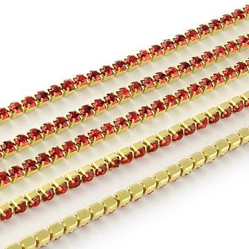 Nickel Free Raw(Unplated) Brass Rhinestone Strass Chains, Rhinestone Cup Chain, 2880pcs rhinestone/bundle, Grade A, Light Siam, 2.2mm, about 23.62 Feet(7.2m)/bundle(CHC-R119-S6-02C-1)
