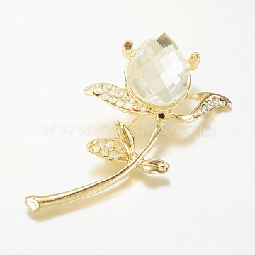 Alloy Glass Rhinestone Brooches, Flower, Golden, 56.5x35.5mm, Pin: 0.8mm(X-JEWB-G001-05)