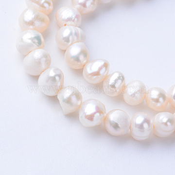 Natural Cultured Freshwater Pearl Beads Strands, Potato, Antique White, 5~6x4~4.5mm, Hole: 0.5mm; about 81pcs/strand, 13.3 inches(X-PEAR-S010-18)