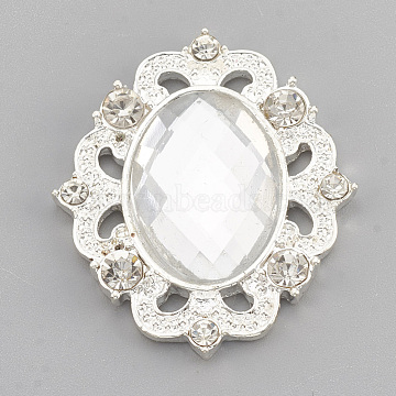 Alloy Acrylic Rhinestone Cabochons, with Rhinestone, Faceted, Oval, Silver Color Plated, Clear, 31x27x5mm(X-RB-N050-01-23S)