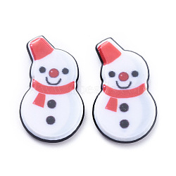Painted Acrylic Cabochons, for Christmas, Snowman, White, 23.5x13.5x3.5mm(X-KY-D011-10)