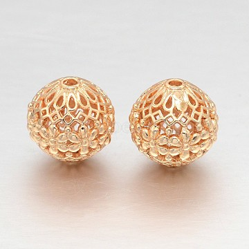 Hollow Round Rack Plating Brass Filigree Beads, Filigree Ball, Light Gold, 14mm, Hole: 2mm(KK-L147-181)