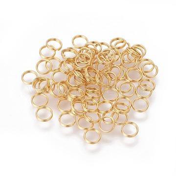 304 Stainless Steel Split Rings, Golden, 5x1mm, Inner Diameter: 4mm, Single Wire: 0.5mm(X-STAS-G191-11G)