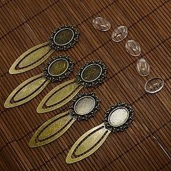 18x13 мм прозрачная крышка куполом из стекла кабошон для DIY сплава портрет закладки материалы, без кадмия, без никеля и без свинца, античная бронза, сеттинги кабошон закладки: 74x25 мм(DIY-X0124-AB-NR)