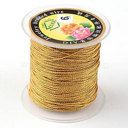 Round Metallic Cord, 9-Ply, Gold, 0.8mm, about 65.61 yards(60m)/roll(MCOR-L001-0.8mm-56)