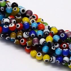 Faits à la main mauvais perles rondes lampwork des yeux, couleur mixte, 8mm, Trou: 1mm(X-LAMP-L055-8mm-M)