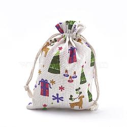 Sacs d'emballage en polycoton (polyester coton), avec boite et sapin de noel, colorées, 18x13 cm(X-ABAG-S003-02E)