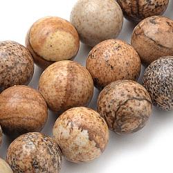 image Naturel jaspe perles brins, arrondir, 8 mm, trou: 1 mm; environ 46 perle / brin, 15.7(G-S259-27-8mm)