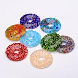 pendentifs en verre donut / pi disque millefiori, couleur mélangée, 34~39x5~6 mm, trou: 8 mm(X-LK-N001-10)