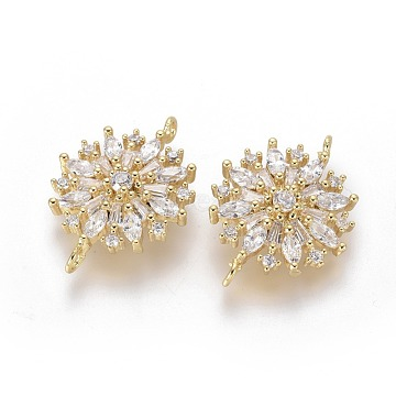 Brass Micro Pave Clear Cubic Zirconia Links/Connectors, Flower, Golden, 16.5x22x3.5mm, Hole: 1.4mm(ZIRC-G153-20G)