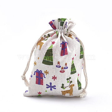 Polycotton(Polyester Cotton) Packing Pouches Drawstring Bags, with Printed Box and Christmas Tree, Colorful, 18x13cm(X-ABAG-S003-02E)
