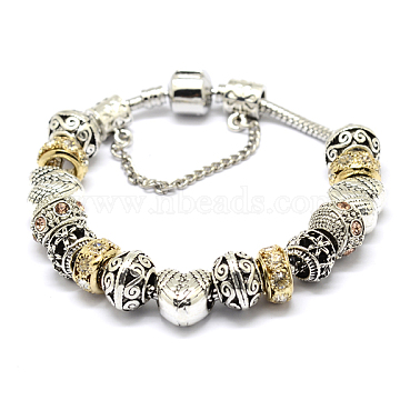 Alloy Rhinestone Bead European Bracelets, with Brass Chain, Mixed Color, 190mm(BJEW-L602-05)