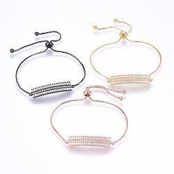 """Bracelets réglables en laiton à micro-pavé de zircons cubiques, Bracelets coulissants, rectangle, clair, couleur mixte, 11"""" (28cm); 1.2mm(BJEW-H583-27)"""