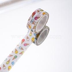 Rubans adhésifs décoratifs pour bricolage, crème glacée, blanc, 15mm, 5 m / rouleau (5.46 heures / rouleau)(DIY-F016-P-01)