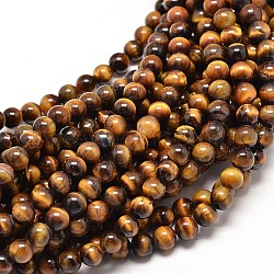Natural Tiger Eye Round Bead Strands, 4mm, Hole: 0.5mm; about 91pcs/strand, 15inches