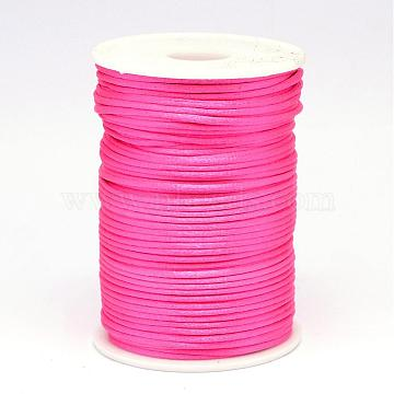 Polyester Cord, Satin Rattail Cord, for Beading Jewelry Making, Chinese Knotting, Deep Pink, 2mm; about 100yards/roll(NWIR-N009-06)