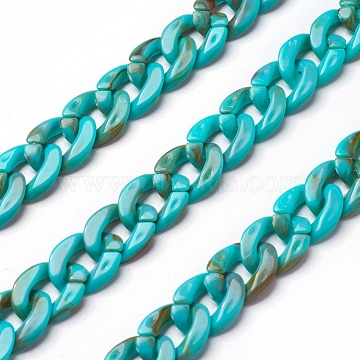 Acrylic Curb Chains, Dark Turquoise, Link:13x10~10.5x2.5~3mm; about 70cm/strand, 27.56 inches(X-SACR-P065-R01)