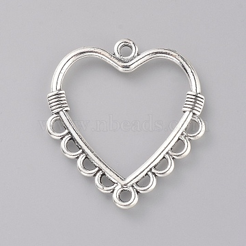 Tibetan Style Zinc Alloy Chandelier Component Links, Heart, Antique Silver, 30x27x2mm, Hole: 1.8mm(X-PALLOY-E564-30AS)