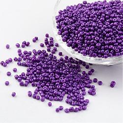 12 / 0 1.5~2 mm Peinture pour la cuisson Perles de rocaille en verre Perles intercalaires, trou mediumorchid: 0.5~1 mm; sur 2890 pcs / 50 g