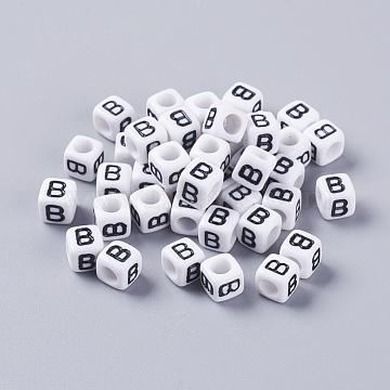 6mm White Cube Acrylic Beads