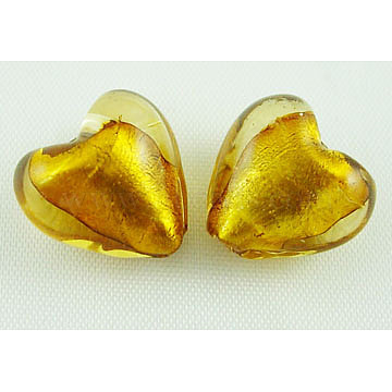 Handmade Silver Foil Glass Beads, Heart, Goldenrod, about 12mm in diameter, 8mm thick, hole: 1~2mm(X-SLH12MM19Y)
