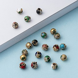 Handmade Cloisonne Beads, Round, Mixed Color, Round, 6mm(+-0.5~1mm), hole: about 1~1.5mm(CLB6mm-M)