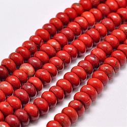 """Chapelets de perles en jaspe rouge naturel, rondelle, grade AB, rouge, 8x5mm, trou: 1mm; environ 75 pcs/chapelet, 15.1""""(G-F347-8x5mm-01)"""