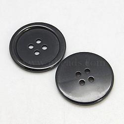 Пуговицы из смолы, окрашенные, плоско-круглые, чёрные, 22x3 мм, отверстие : 2 мм(X-RESI-D030-22mm-02)
