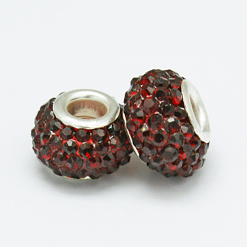 15mm Red Rondelle Resin + Glass Rhinestone Beads